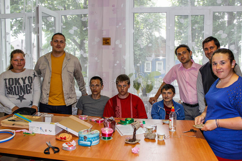 Competition for children on making homemade crafts in the education centre in the Gomel region of Belarus. stock photo