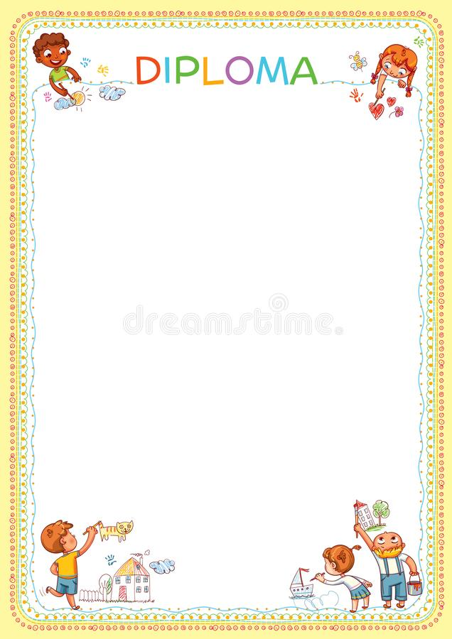 Competition of children`s drawings. Template for diploma. Layout ready for your message. Funny cartoon character. Vector illustration. A4 file format stock illustration