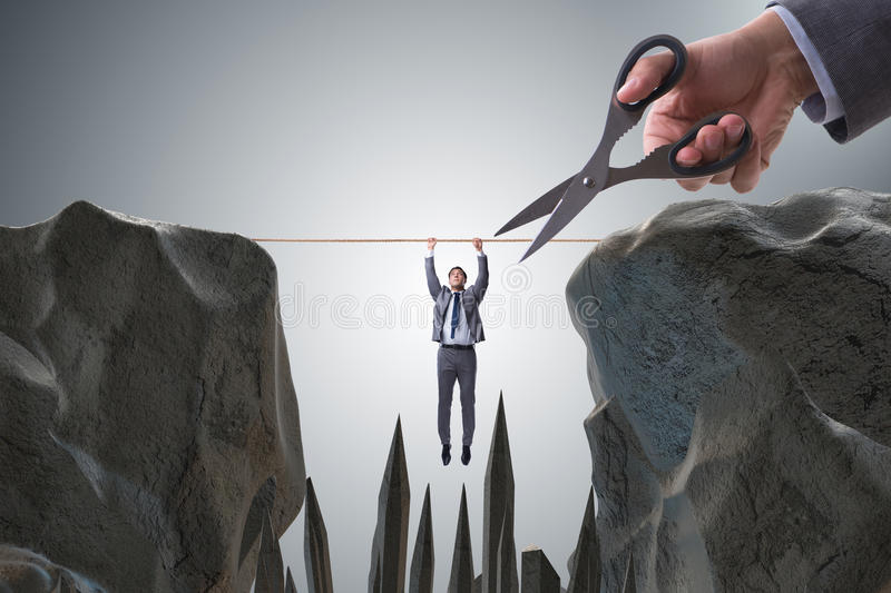 The competition concept with hanging businessman. Competition concept with hanging businessman royalty free stock photography