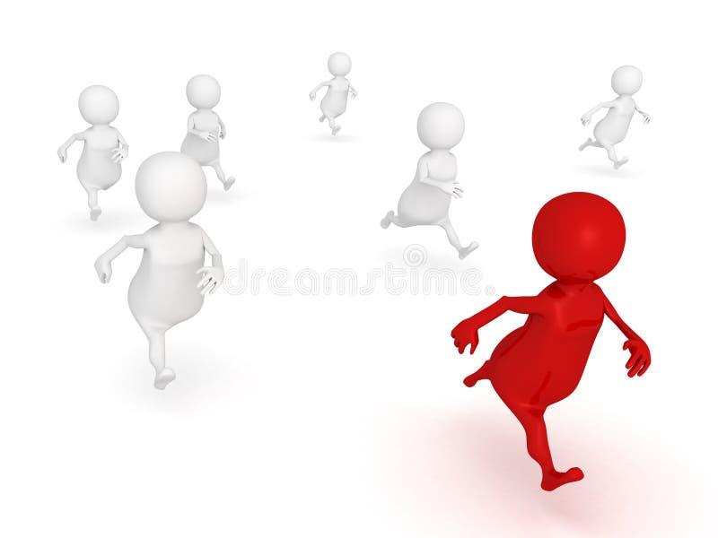 Competition concept success 3d human race leader winner stock illustration