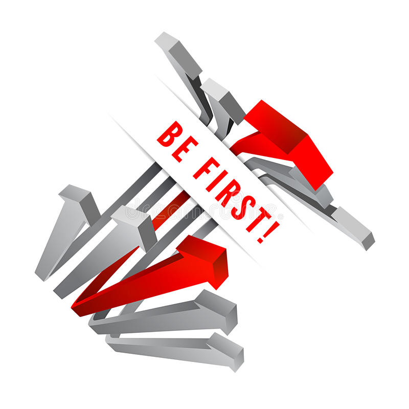 Competition. Gray arrows and leading red arrow royalty free illustration