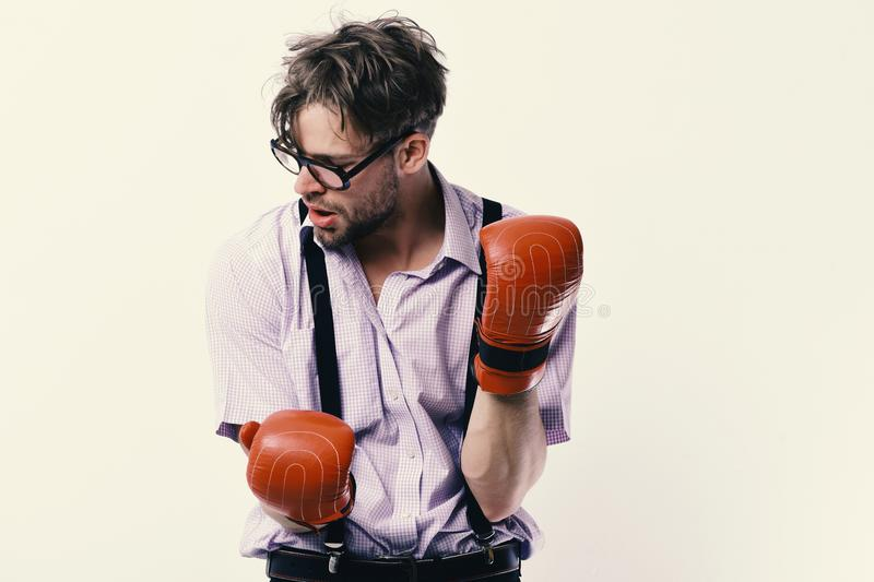 Competition and intelligent sport concept. Man with bristle and tired face wears boxing gloves. Weak guy makes hits and punches. Nerd with leather box royalty free stock images