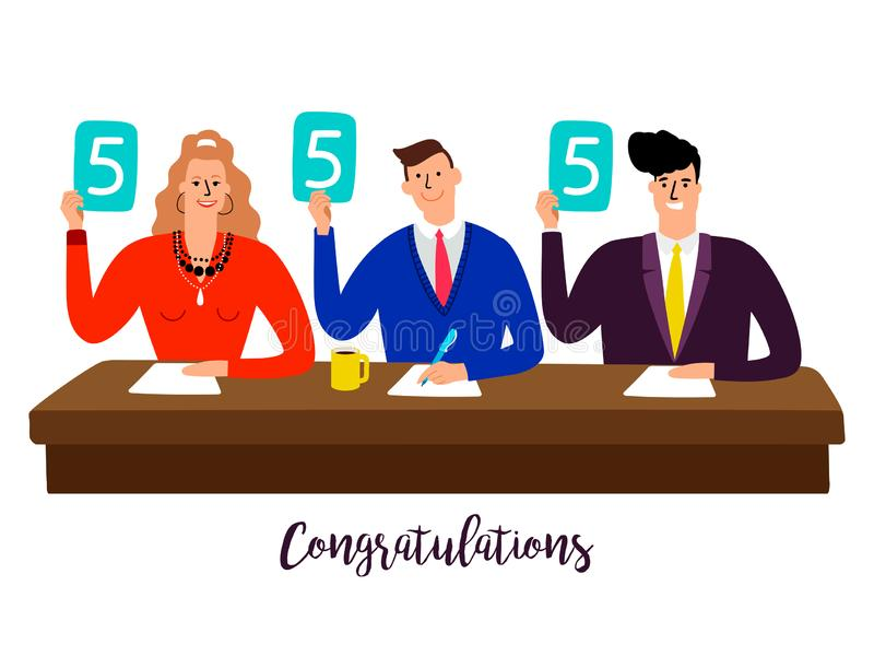 Competition jury. Contest judges with score panels at table vector concept. Illustration of competition rating jury, contest group people vector illustration