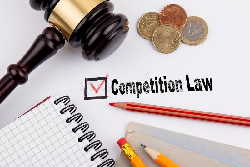 Competition law. Questionnaire with red cross on the white paper stock images