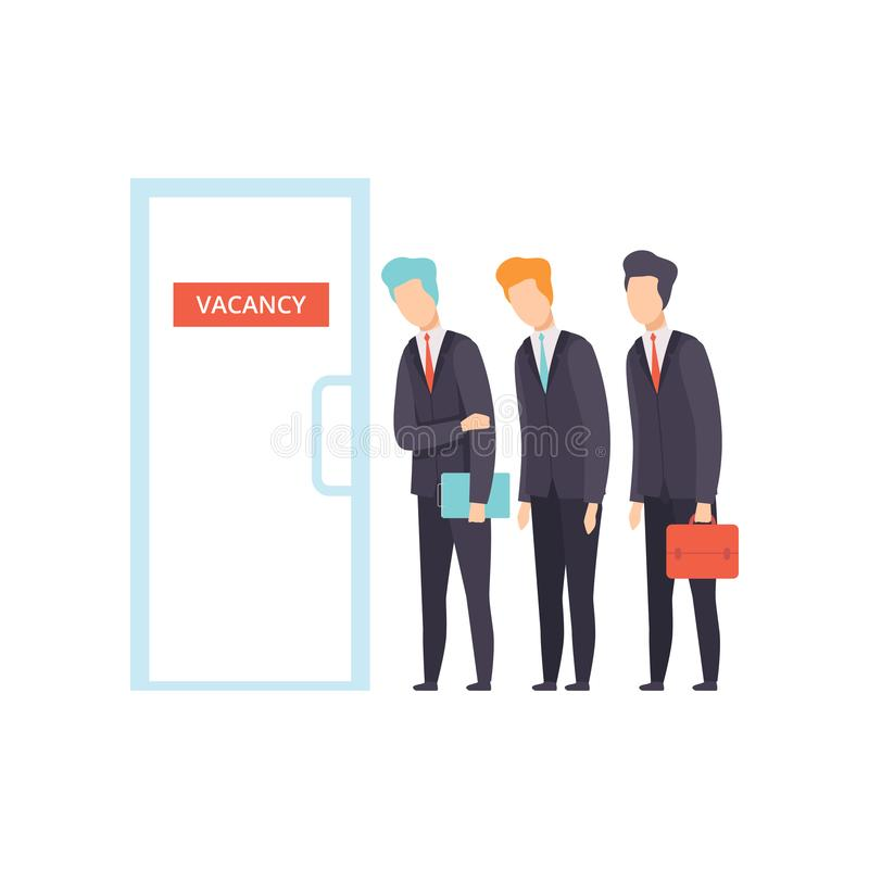 Competition of people for jobs, selection of candidates for vacancy, job search, recruitment, hiring vector Illustration stock illustration