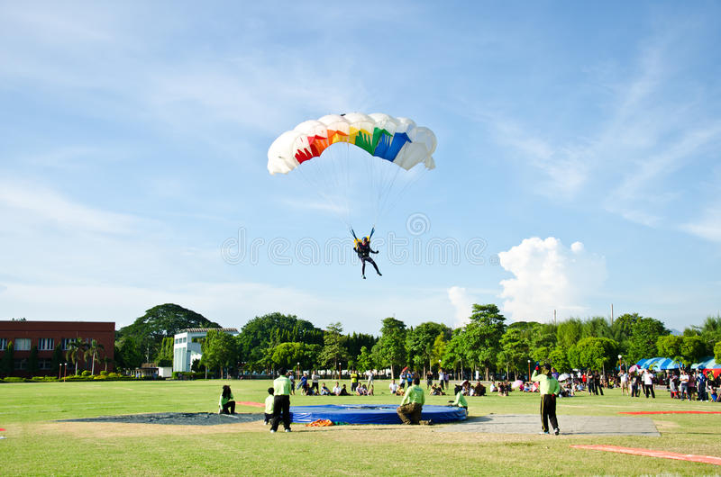 Competition Skydiving Championships. In Thailand. Athletes are Skydiving landing to score the competition royalty free stock photography