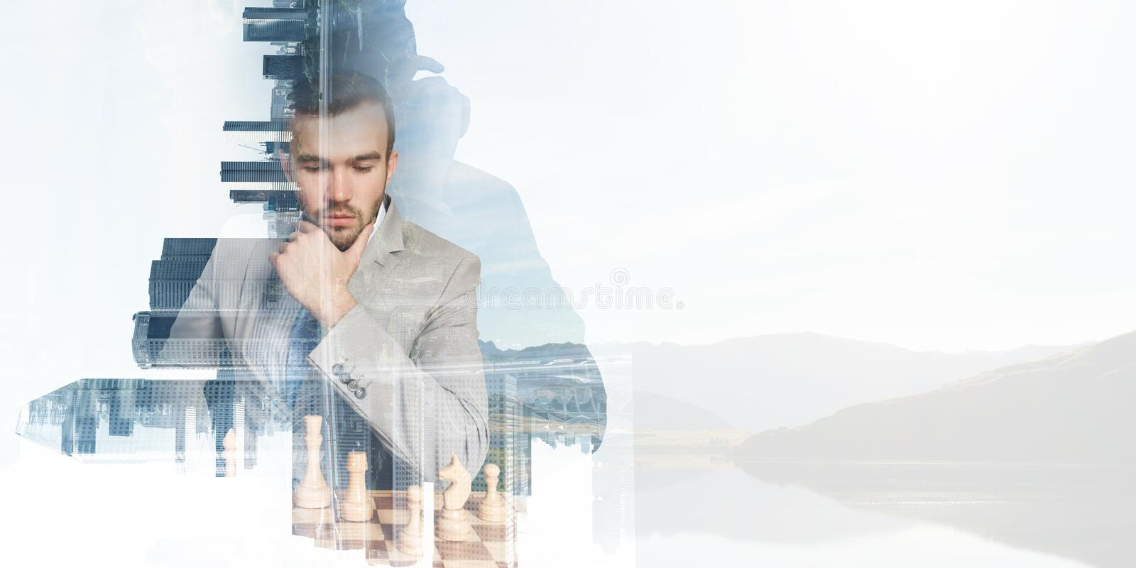 Competition and strategy in business . Mixed media stock images