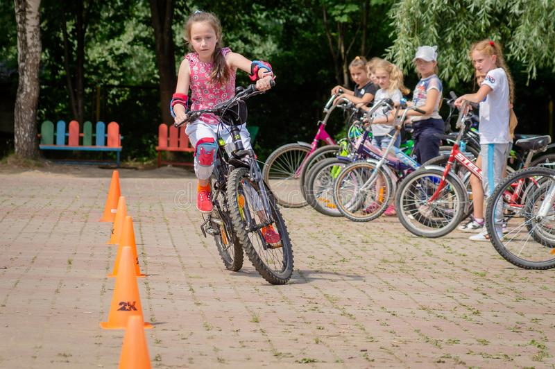 Competition-training in Cycling for younger students in Central Russia. In Russia, schools, together with the police and the road Inspectorate, organize stock photos