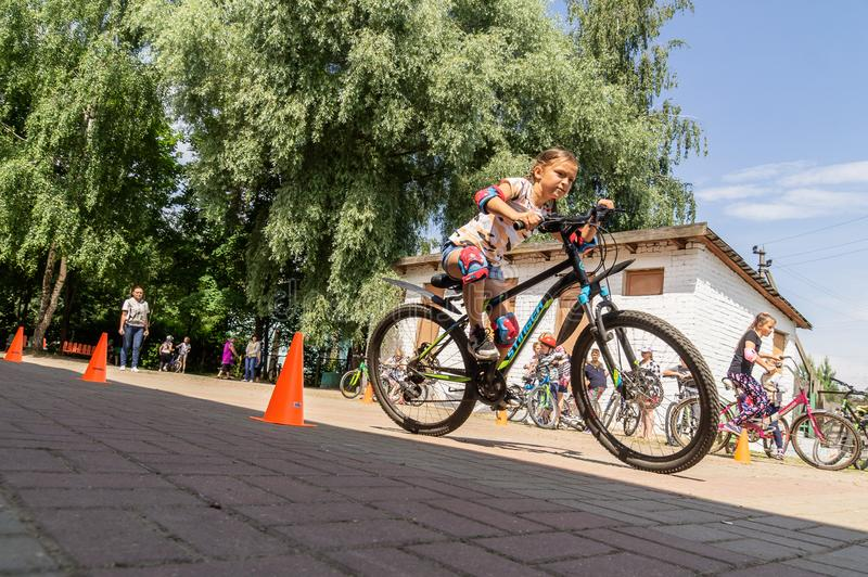 Competition-training in Cycling for younger students in Central Russia. In Russia, schools, together with the police and the road Inspectorate, organize royalty free stock photos