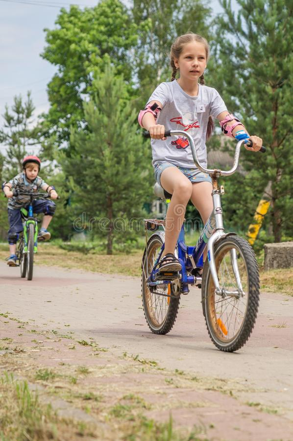 Competition-training in Cycling for younger students in Central Russia. In Russia, schools, together with the police and the road Inspectorate, organize royalty free stock images