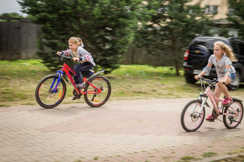 Competition-training in Cycling for younger students in Central Russia. In Russia, schools, together with the police and the road Inspectorate, organize royalty free stock photography