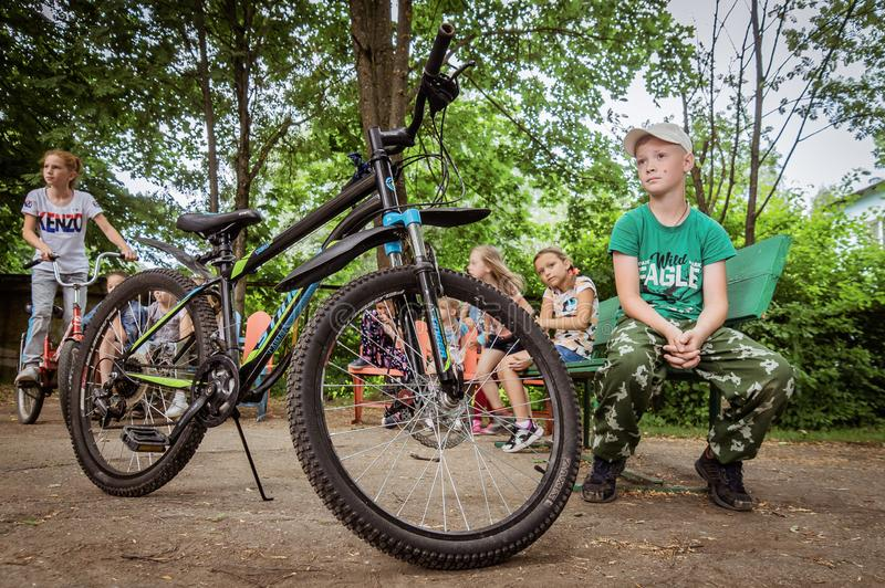 Competition-training in Cycling for younger students in Central Russia. In Russia, schools, together with the police and the road Inspectorate, organize royalty free stock image