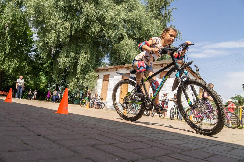 Competition-training in Cycling for younger students in Central Russia. In Russia, schools, together with the police and the road Inspectorate, organize royalty free stock photo