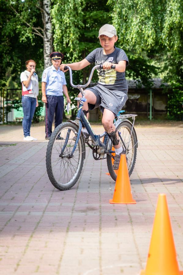 Competition-training in Cycling for younger students in Central Russia. In Russia, schools, together with the police and the road Inspectorate, organize stock image