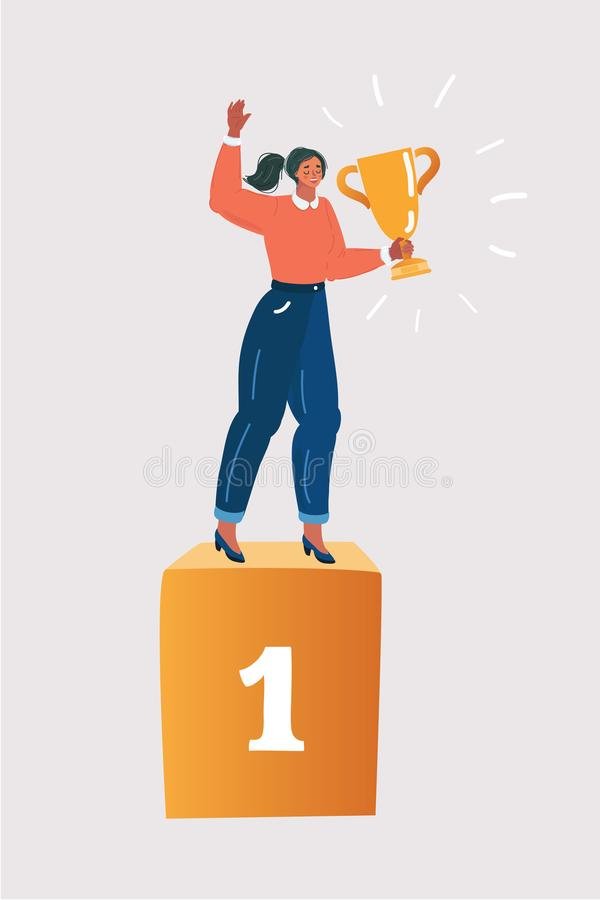 Competition winner. Woman on the podium vector illustration