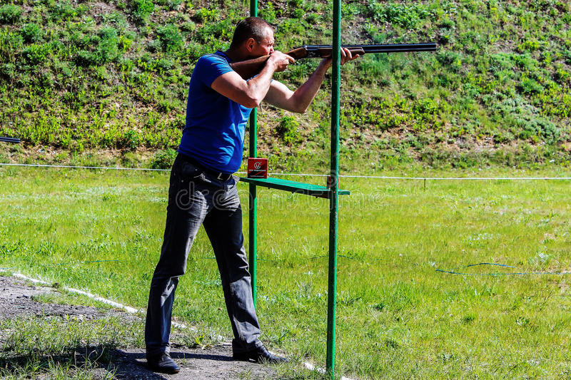 Competitions in clay pigeon shooting in the Gomel region the Republic of Belarus. royalty free stock images