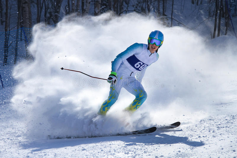 Competitions on mountain ski royalty free stock photo