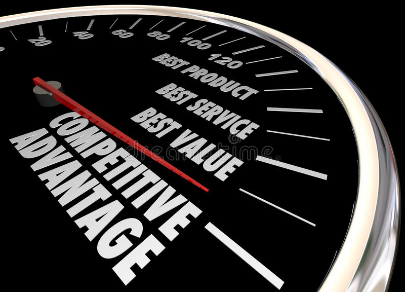 Competitive Advantage Better Product Price Service Speedometer 3. D Illustration stock illustration