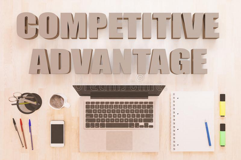 Competitive Advantage. Text concept with notebook computer, smartphone, notebook and pens on wooden desktop. 3D render illustration royalty free stock photography