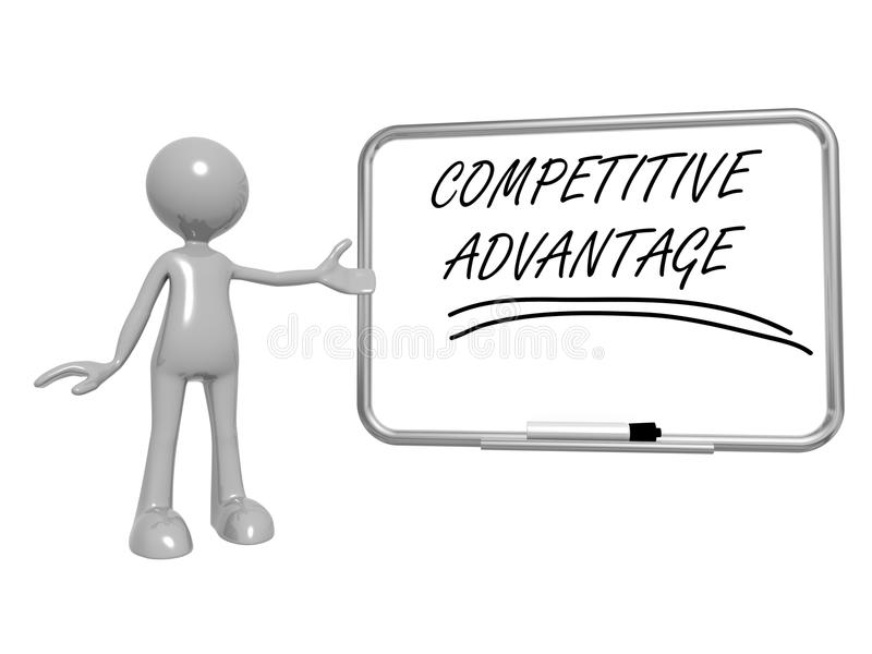 Competitive advantage. 3d toon figure gesturing to a whiteboard with the words competitive advantage, business concept royalty free illustration