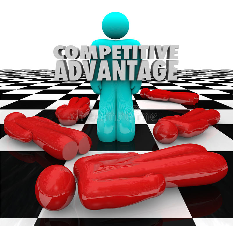 Competitive Advantage People Winner Stands Alone. One person stands as the winner with words Competitive Advantage to illustrate superior qualities and stock illustration