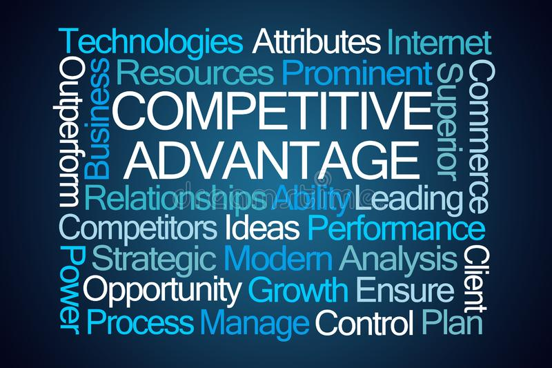 Competitive Advantage Word Cloud. On Blue Background vector illustration