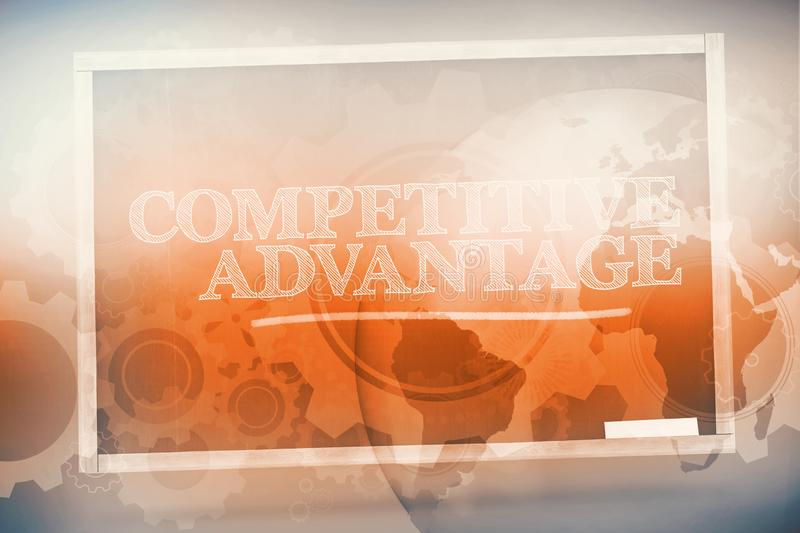 Competitive advantage written on a chalkboard. And underlined in green stock illustration