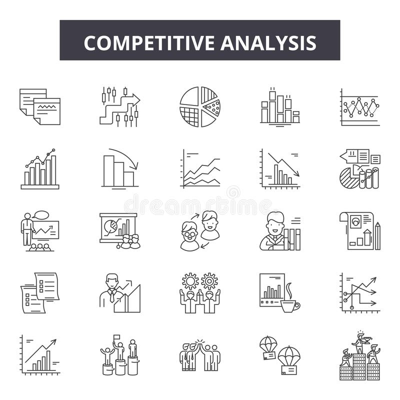 Competitive analysis line icons, signs, vector set, outline illustration concept stock illustration