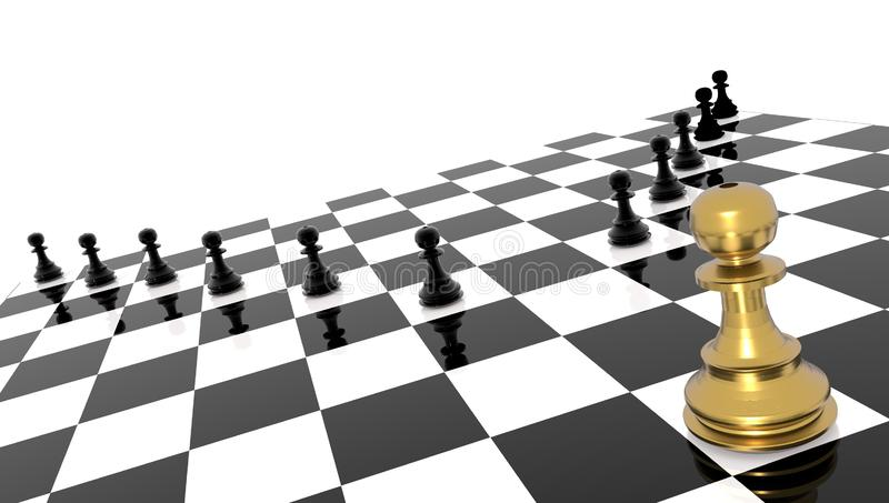 Competitive andvantage golden chess pawn outstanding leader - 3d rendering. Competitive andvantage golden chess pawn outstanding leader bussines background - 3d royalty free illustration