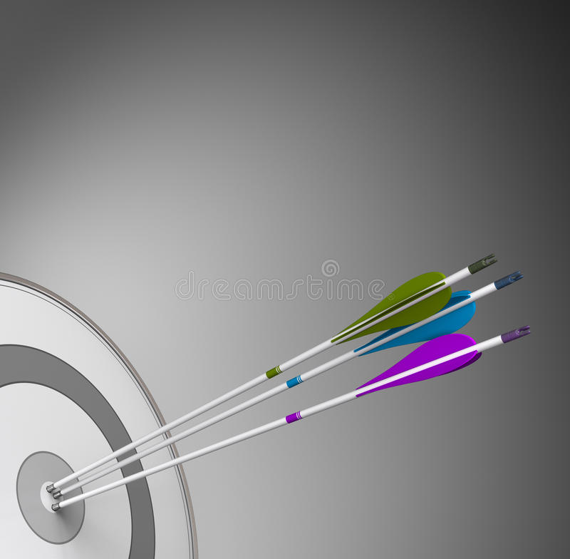 Competitive Business Background Concept - Achieving Excellence. Three arrows hiting the center of a grey target with high precision. Concept image suitable for vector illustration