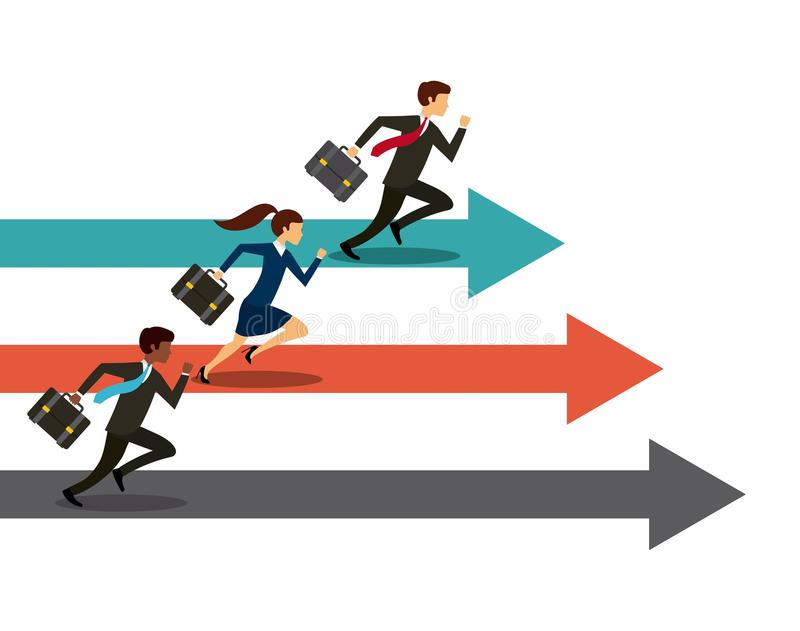 Competitive business design. Businessmen and women running on competition race. colorful design. illustration royalty free illustration