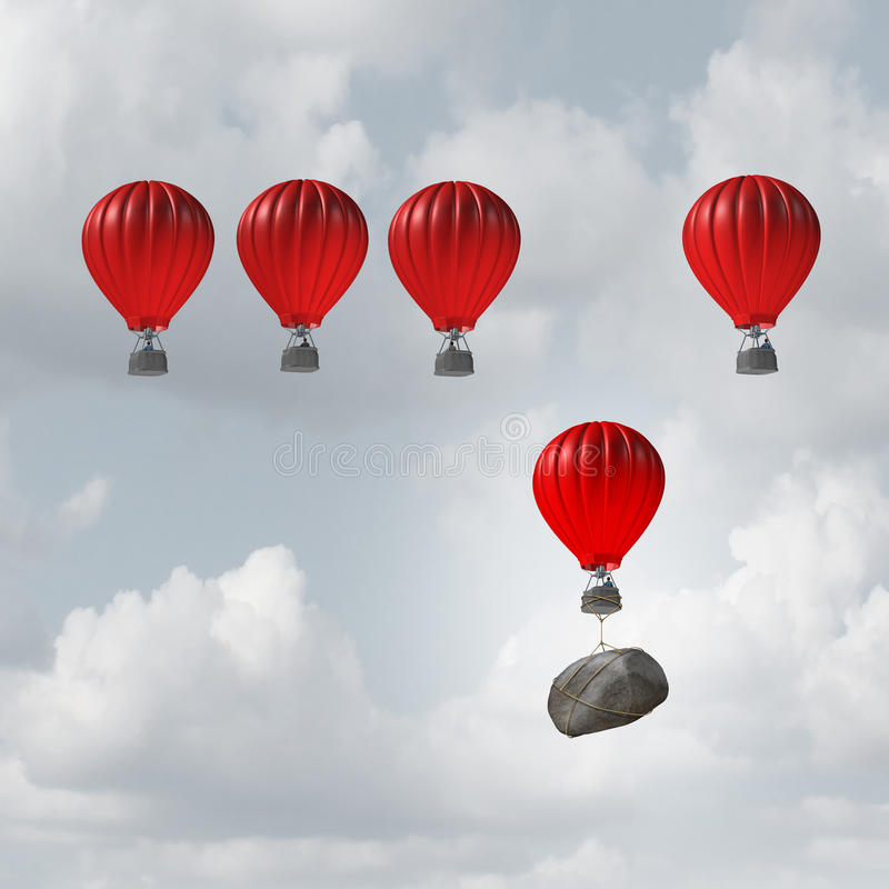 Competitive Disadvantage. Competitive struggle and business disadvantage or disability concept as a group of hot air balloons racing to the top but an individual royalty free illustration
