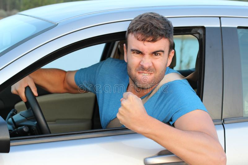 Competitive driver celebrating close up stock photography
