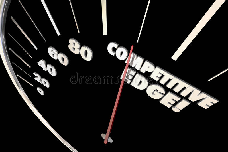 Competitive Edge Advantage Speedometer Words. 3d Illustration vector illustration