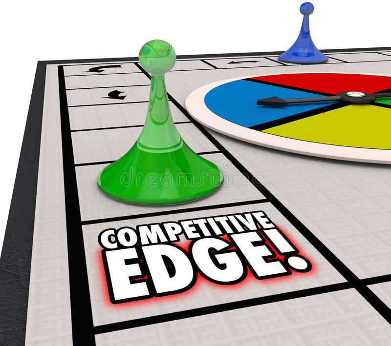 Competitive Edge Board Game Winning Advantage Success. Competitive Edge words on a board game to illustrate a special advantage of one player winning a vector illustration