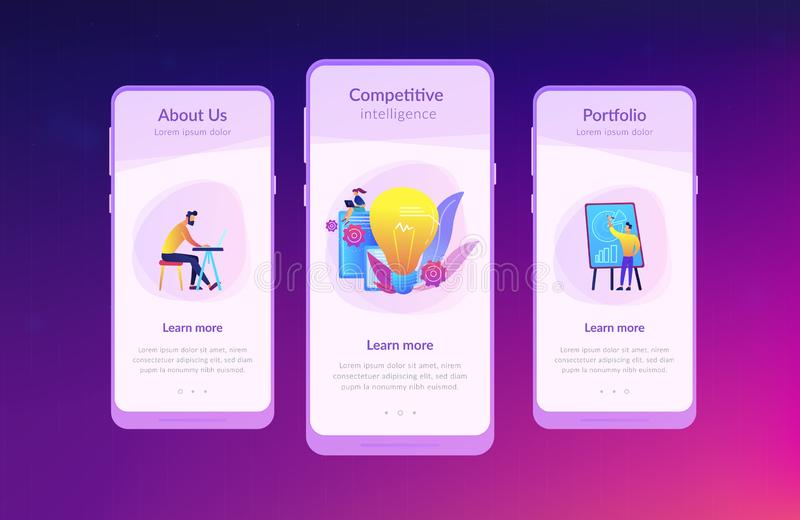 Competitive intelligence app interface template. vector illustration