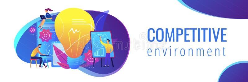 Competitive intelligence concept banner header. vector illustration