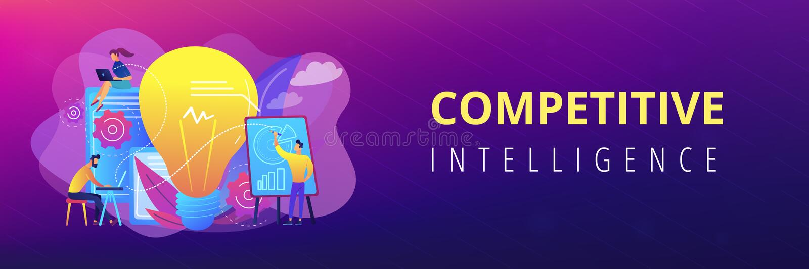 Competitive intelligence concept banner header. vector illustration