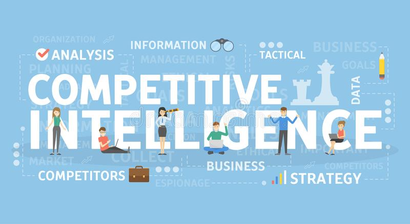 Competitive intelligence concept. Competitive intelligence concept illustration. Idea of analysis and strategy royalty free illustration