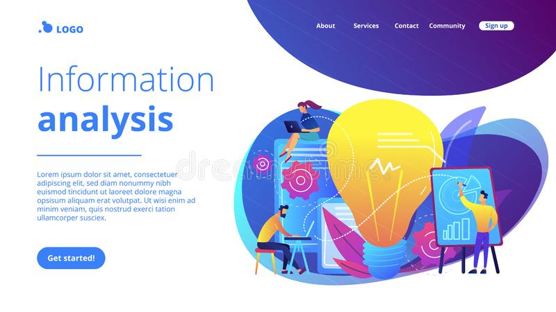 Competitive intelligence concept landing page. Business people analyzing and lightbulb. Competitive intelligence and environment, information and marketplace vector illustration
