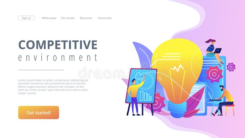 Competitive intelligence concept landing page. stock illustration