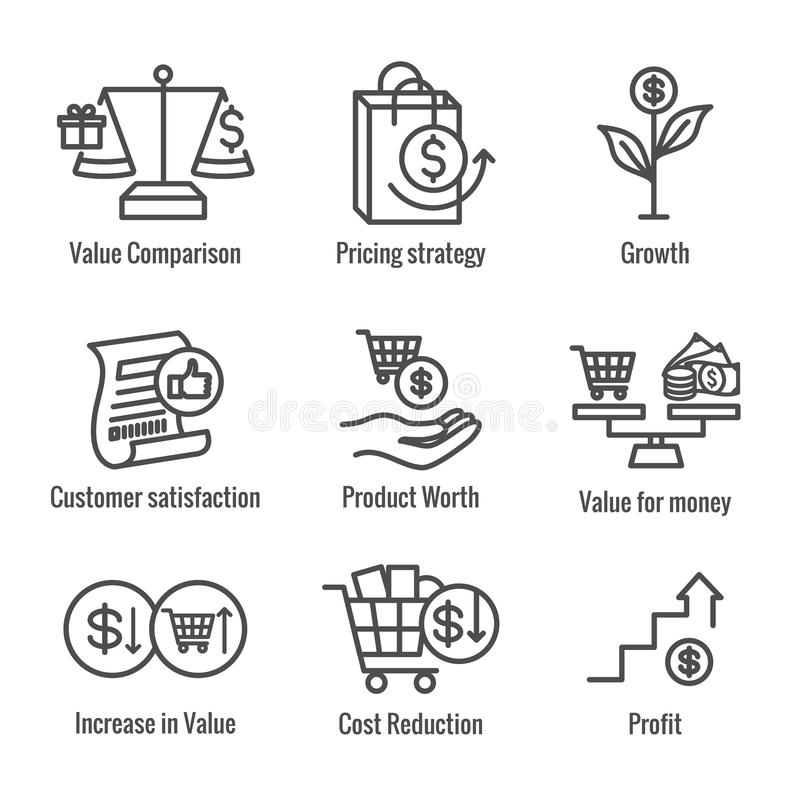 Free Competitive Pricing Icon Set With Growth, Profitability, & Worth Stock Photography - 149524802