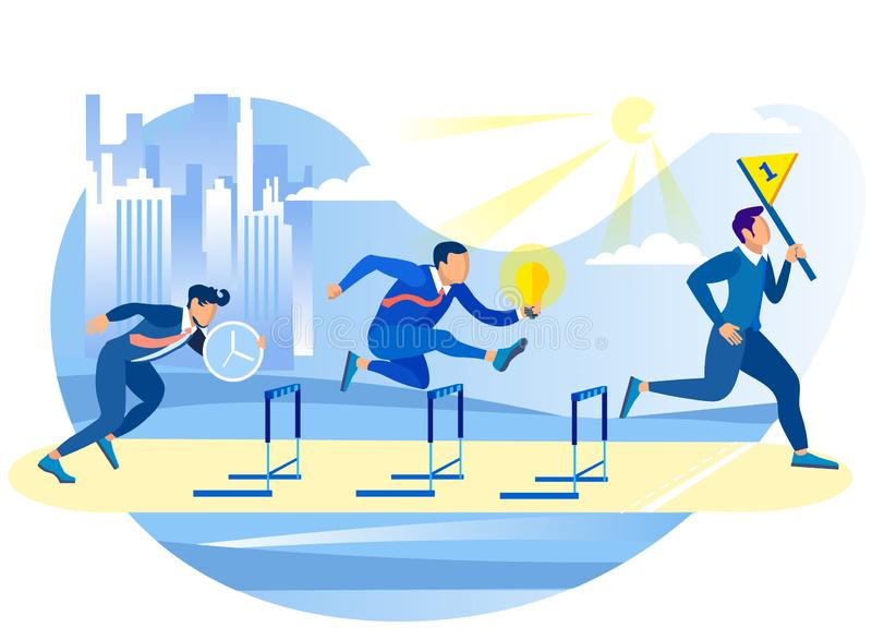 Competitive Process in Business. Overcome Let. Competitive Process in Business. Achive Goal. Overcome Obstacles. Competition in Work Process. Running Overcoming royalty free illustration