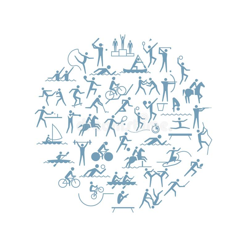 Competitive sports icon set. Sport games disciplines icons in a circular shape stock illustration