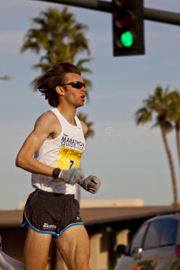 Competitor in the 2010 Phoenix Marathon. SCOTTSDALE, AZ - JANUARY 17: Jeff Eggleston races in the P.F. Chang's Phoenix Arizona Marathon on January 17th 2010 in royalty free stock images