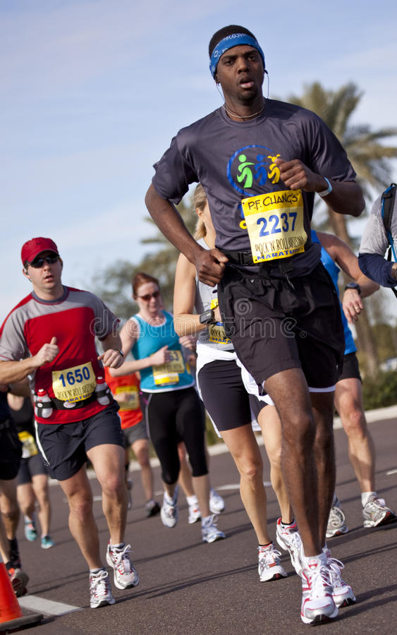 Competitor in the 2010 Phoenix Marathon. SCOTTSDALE, AZ - JANUARY 17: Clifford Mosley racing in the P.F. Chang's Phoenix Arizona Marathon on January 17th 2010 in stock image