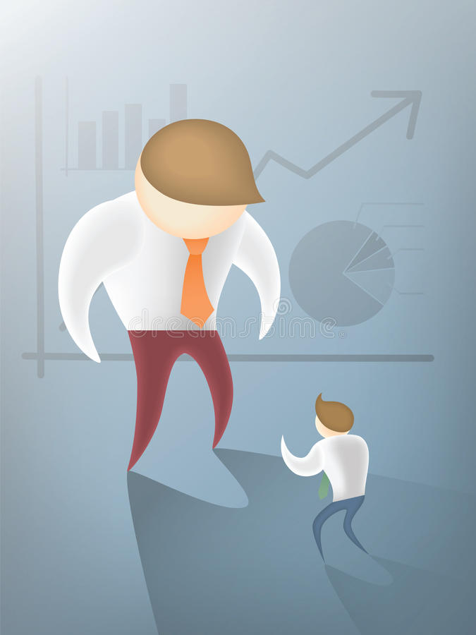 Competitor disadvantage. Business man disadvantage to competitor vector illustration