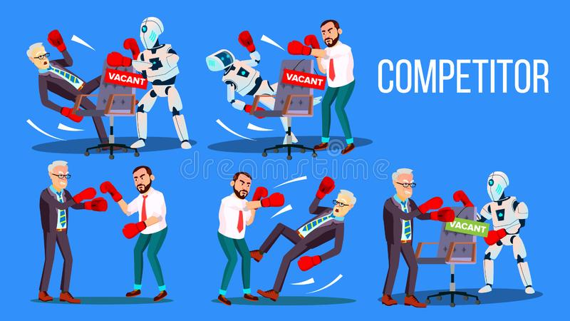 Competitor Of Work Vacancy Position Set Vector. Character Man Fighting With Robot For Vacant Position Chair In Company. Business Battle Competition Colorful royalty free illustration