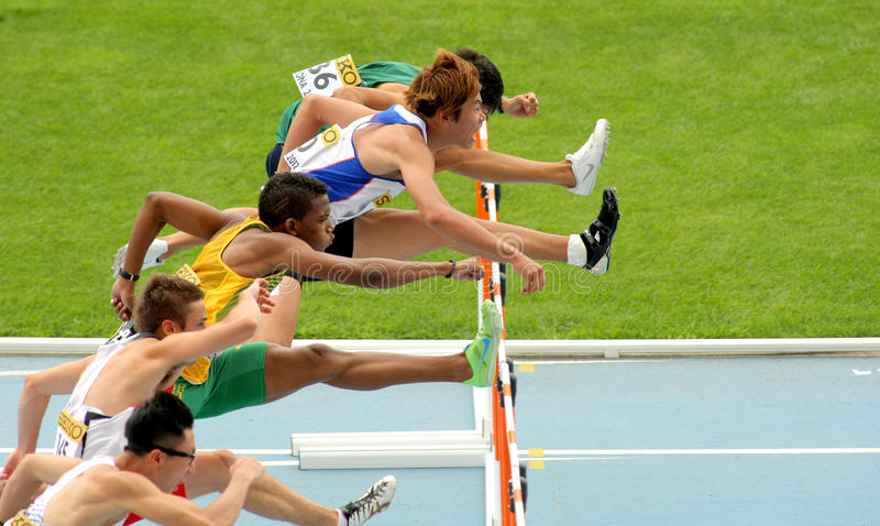 Competitors of 110 meters hurdles. During the 20th World Junior Athletics Championships at the Olympic Stadium on July 10, 2012 in Barcelona, Spain
