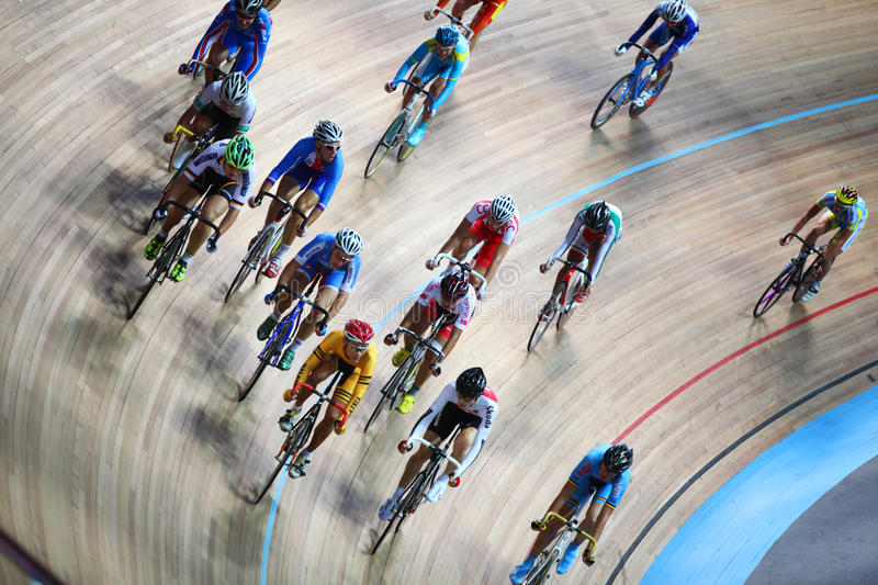 Competitors at juniors track world championships royalty free stock photo